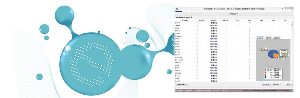 域名注册通查询工具的域名统计分析功能,图表化显示相关的信息